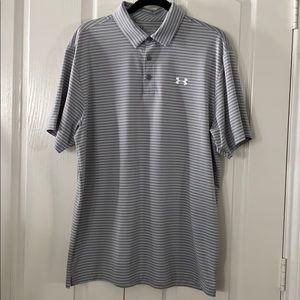 Under Armour Golf striped Shirt size LG headgear